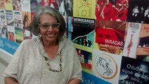 A cineasta Lucia Murat esteve no Ibase contando sobre seu novo filme. Foto: acervo Ibase